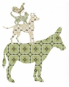 Árboles y animales de papel vintage