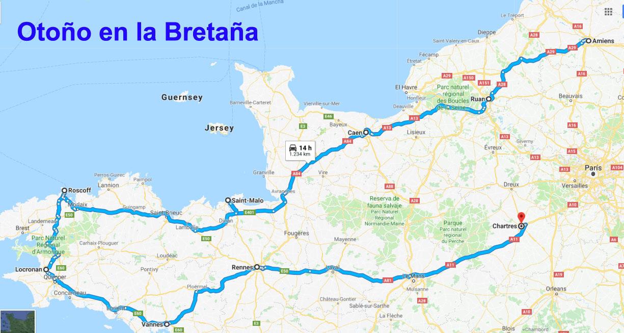 Bretaña Y Normandia Mapa.La Bretana Francesa Con Peques Escapada